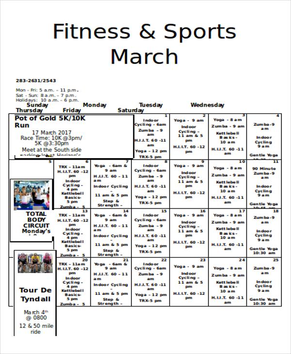 fitness calendar2