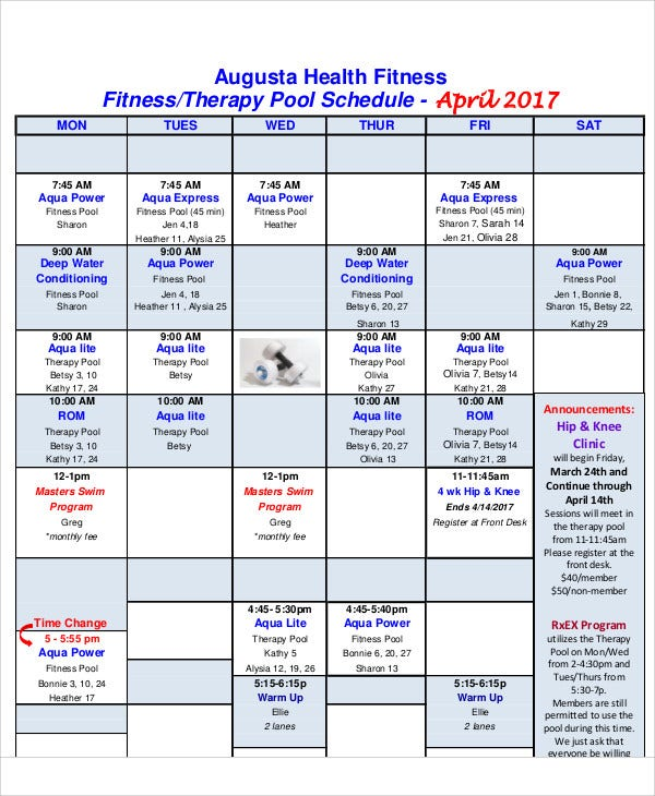 9  therapy schedule templates