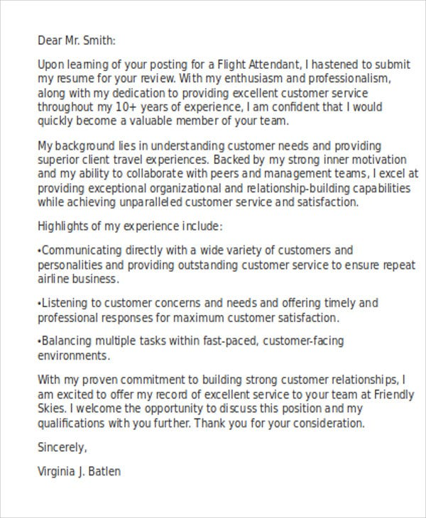 7+ Flight Attendant Cover Letter Templates - Sample, Example