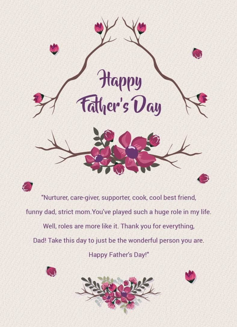 Floral Fathers Day Thank You Note