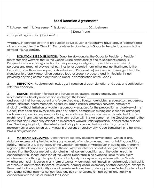 donation agreement templates 8 free pdf format download free