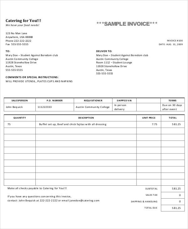 food catering - Example Of Invoice