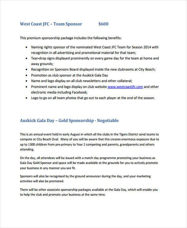 Football Club Sponsorship Proposal. Westcoastjfc.com. Details. File Format  How To Write A Sponsorship Proposal Sample
