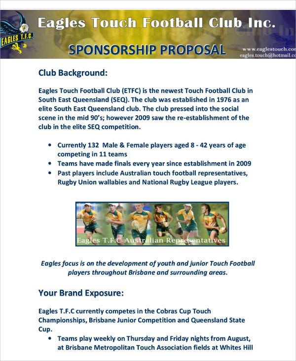 7 team sponsorship proposal templates free sample for Sports team sponsorship proposal template