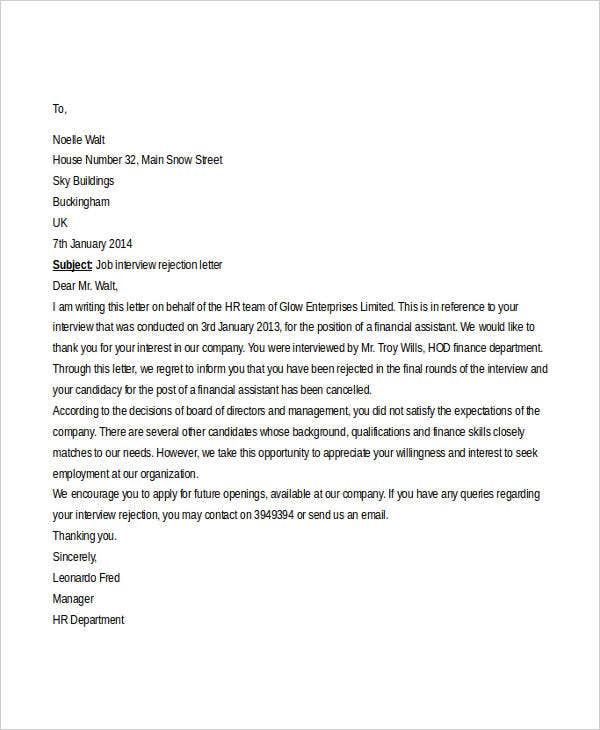 Employment Rejection Letters 8 Free Word PDF Format Download – Job Rejection Letter