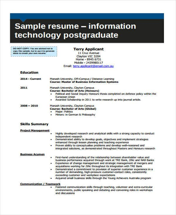 formal it curriculum vitae