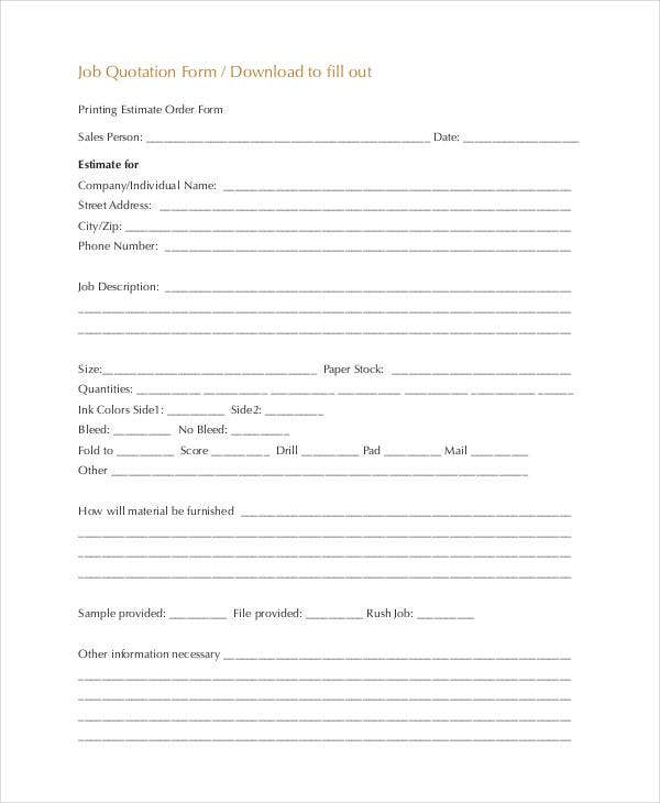 formal job quotation form