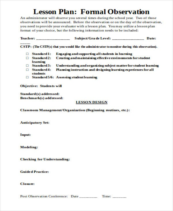 formal lesson template