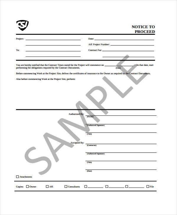 9 Notice To Proceed Templates Free Sample Example