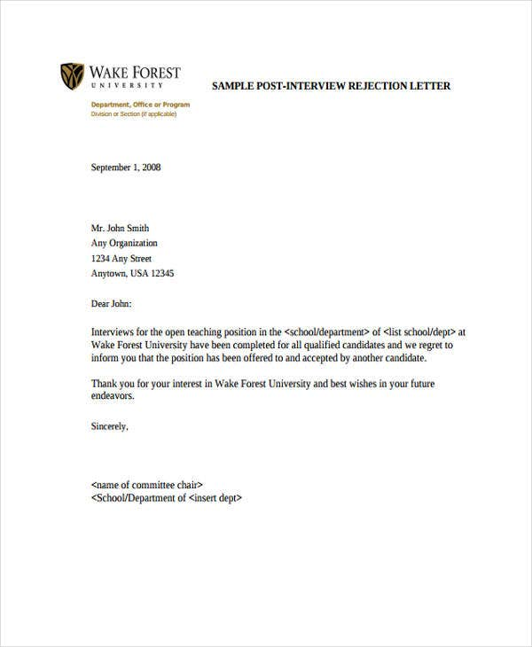 Interview Rejection Letters   Free Word Pdf Format Download