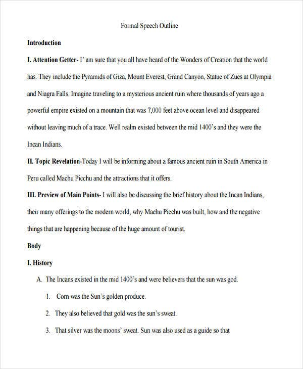 formal speech outline template