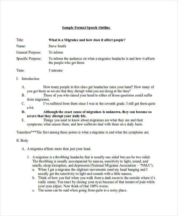 Formal Outline Templates  Free Sample Example Format Download