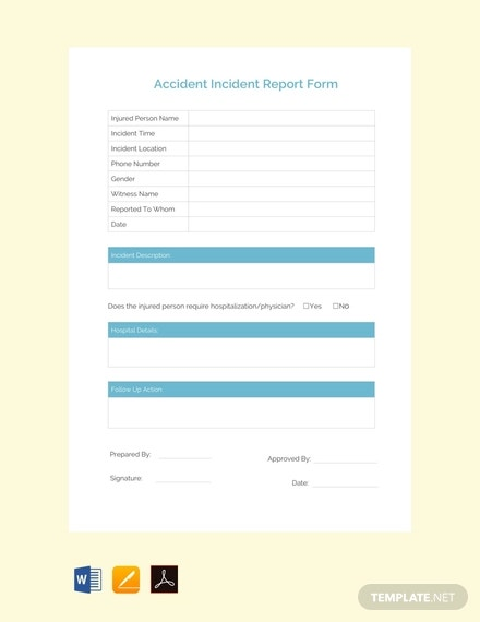 free accident incident report template