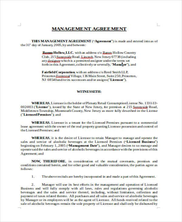 Management Agreement Templates  Free Word Pdf Format Download