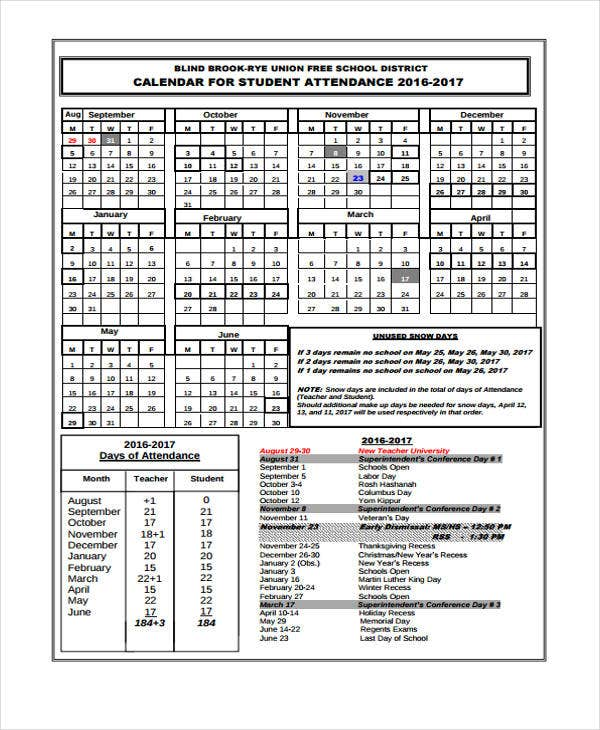 7 attendance calendar templates free word pdf format download