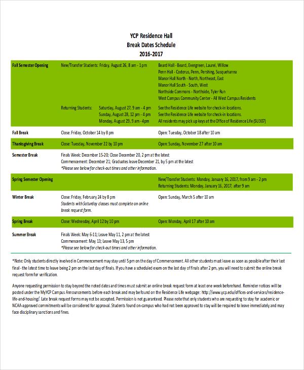 free break schedule