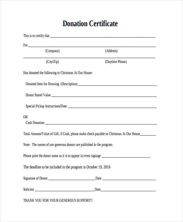 free certificate for donation