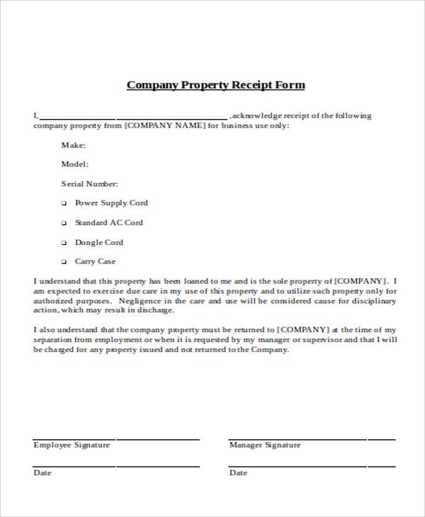7 Company Receipt Templates Word PDF – Company Receipt Template