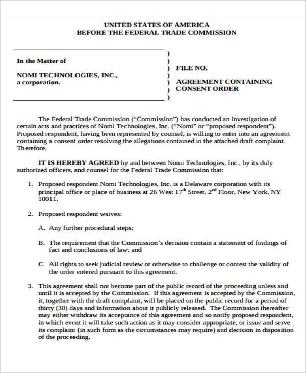 free consent order
