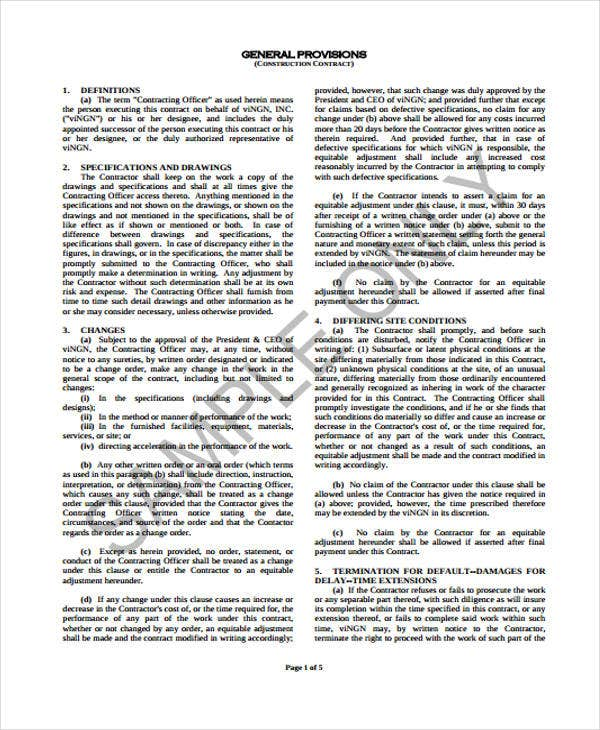 8 construction contract templates free sample example format