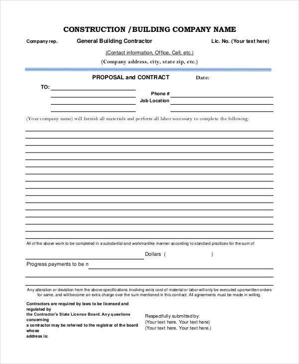 Construction Project Proposal Templates 6 Free Pdf Format