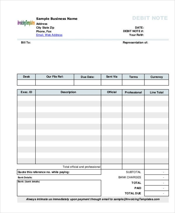 Free Debit Note Template  Debit Memo Template