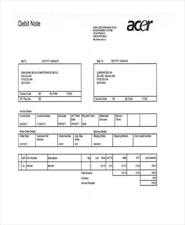 4  debit note templates