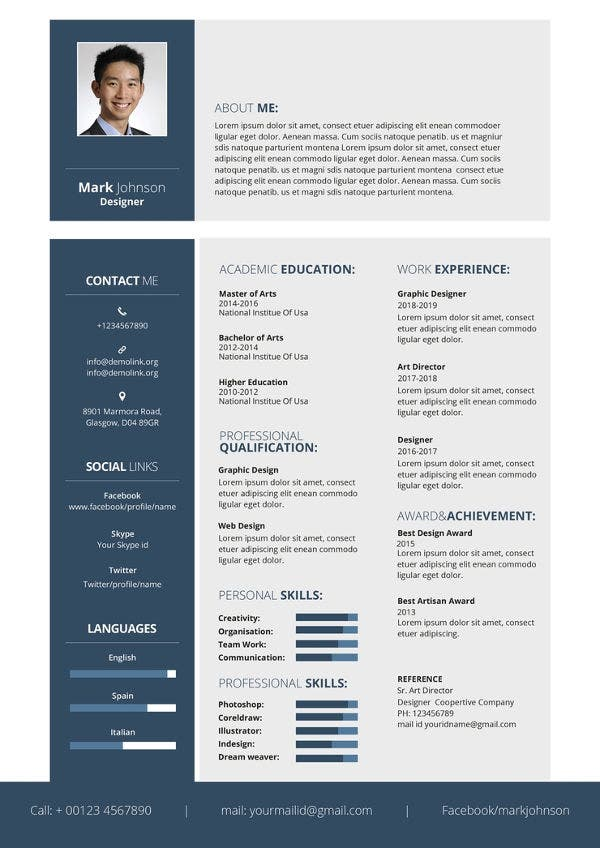 Graphic Design Resume Template | Graphic Designer Resume Template 11 Free Word Pdf Format