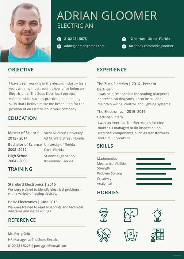 Electrician Resume Template  5Free