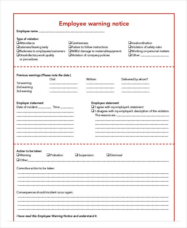 Employee Warning Notice Templates   Free Samples Examples Format