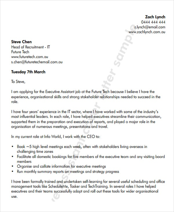 free executive assistant - Assistant To The Ceo Cover Letter