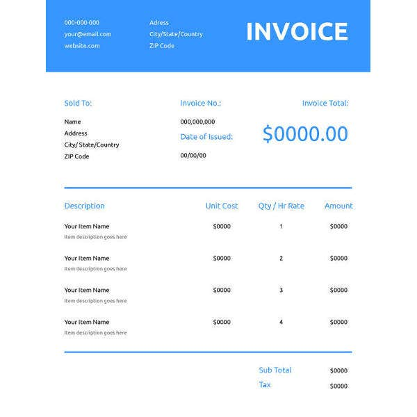 free generic commercial invoice template1