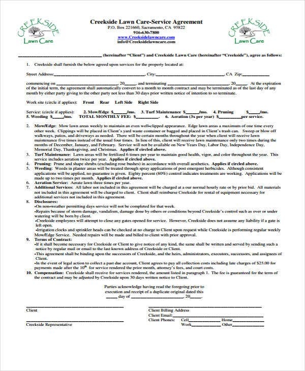 10 Lawn Service Contract Templates Free Sample Example