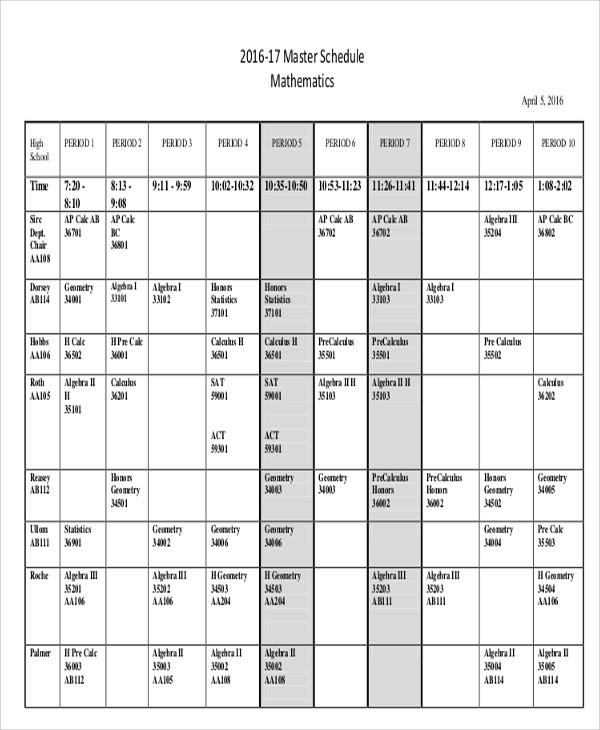 free master schedule