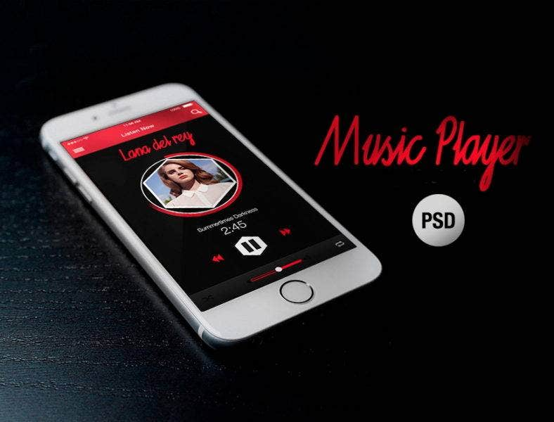 free music app psd 788x600