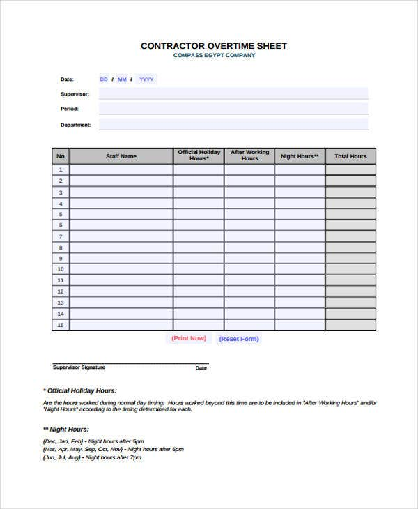Overtime Sheet Templates - 7+ Free Word, PDF Format Download ...
