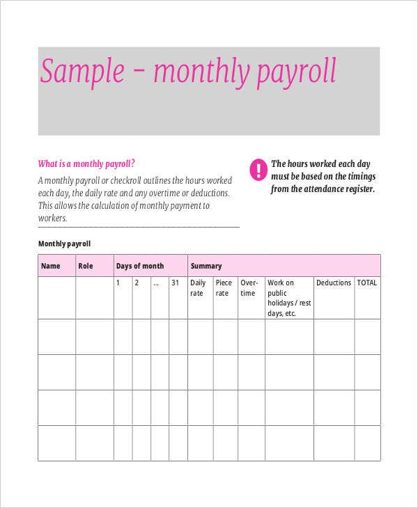 Free Monthly Payroll Sheet  Payroll Sheet Template