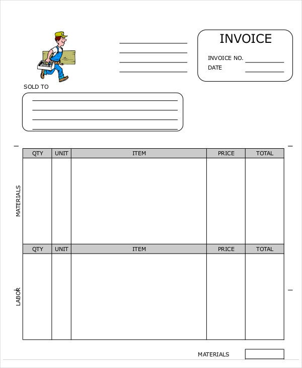 Carpenter Invoice Templates  Free Sample Example Format
