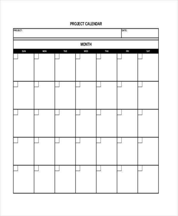 free project calendar template