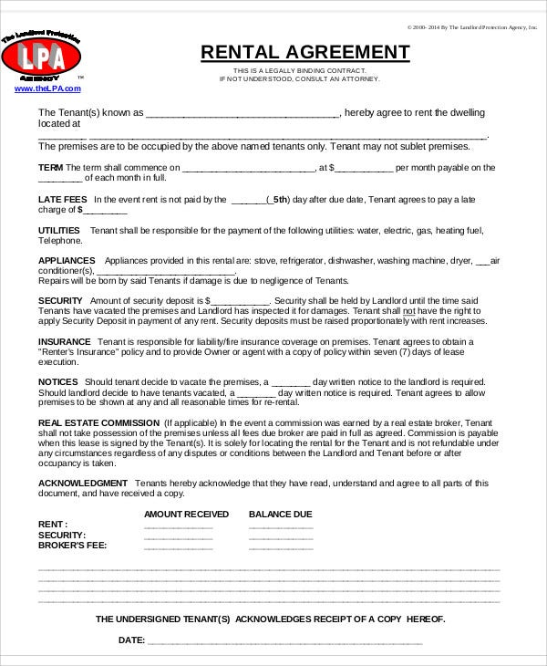 Rental Agreement Templates  Free Sample Example Format Download