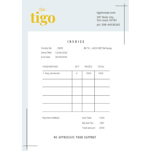 free restaurant invoice template1