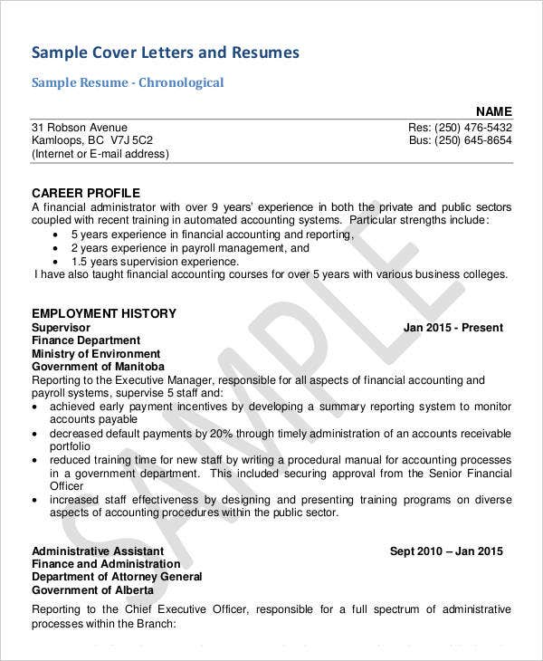 Free Resume Cover Letter Example