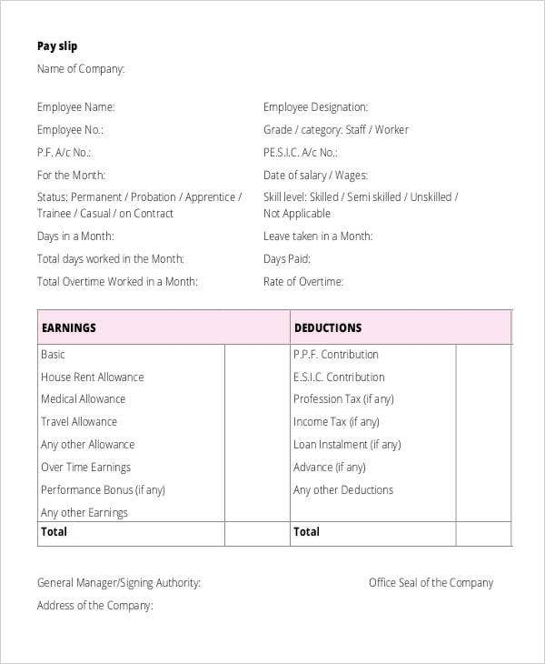 Salary Receipt Templates 6 Free Word PDF Format Download – Salary Receipt Template