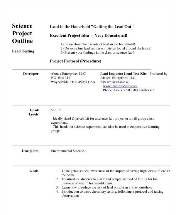 science project outline template