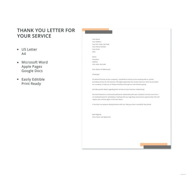 free thank you letter format for your service template