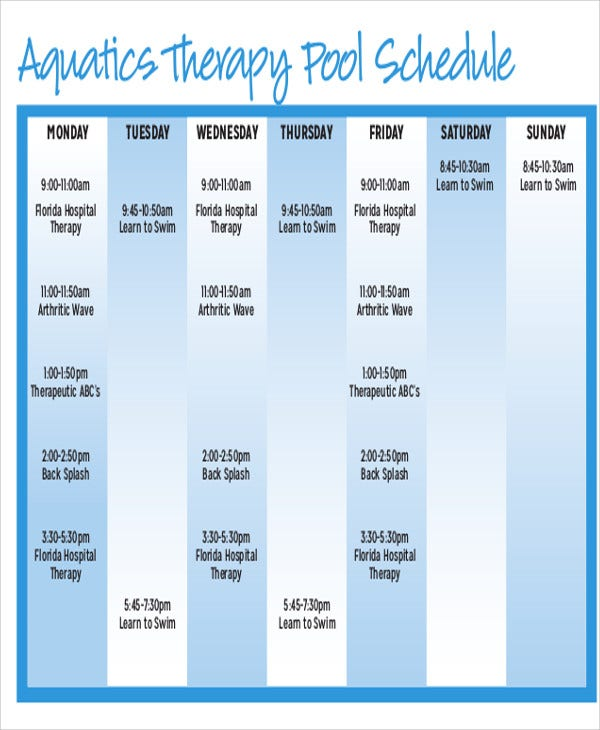 free therapy schedule