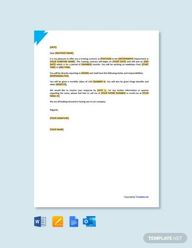 free training contract offer letter