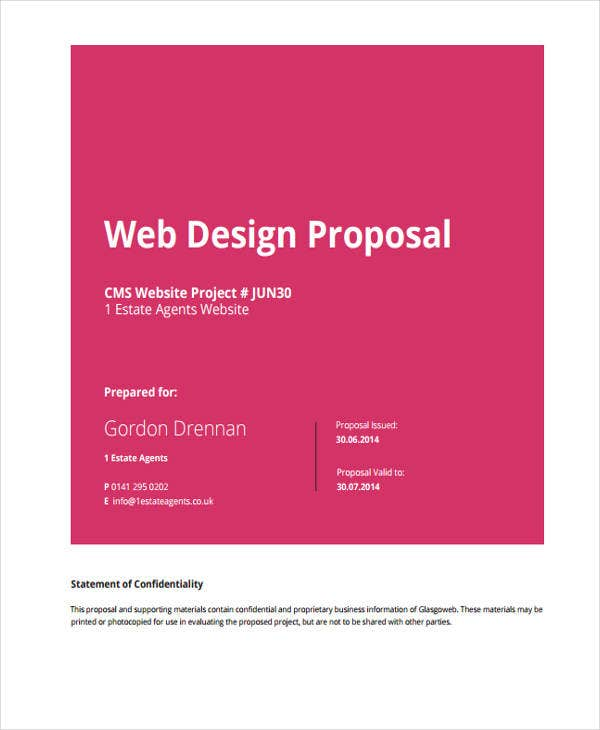 5 Website Design Proposal Templates Free Samples Examples Format