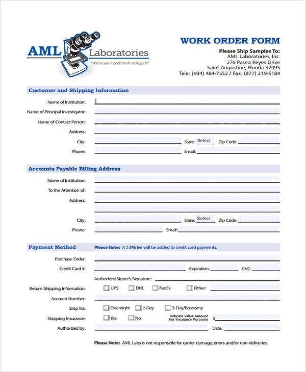 work order templates 9 free pdf format download free premium