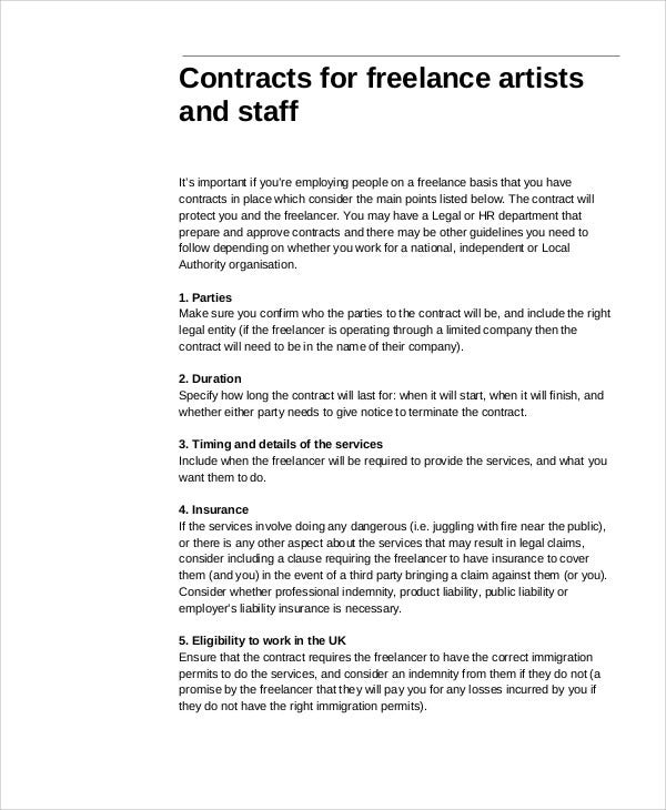 Freelance Contract Templates   Free Word Pdf Format Download